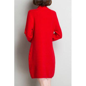 Keyhole Long Sleeve Knitted Dress - RED XL