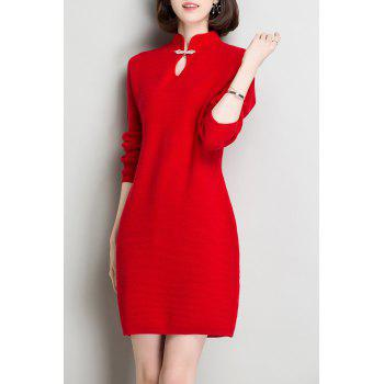 Keyhole Long Sleeve Knitted Dress