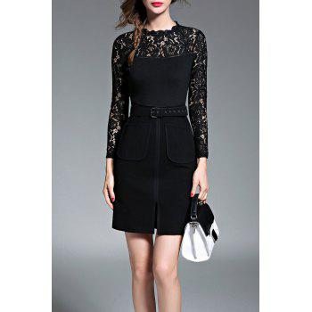 Lace Panel Mini Dress with Belt