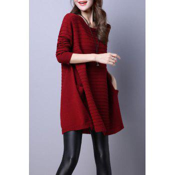 Big Pockets Trapeze Knitted Jumper Dress - WINE RED L
