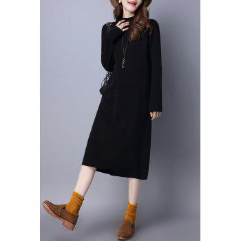 Mock Neck Shift Sweater Dress - BLACK L