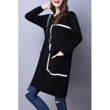 Big Pocket Shift Sweater Dress - BLACK M