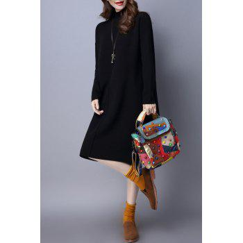 Mock Neck Long Sleeve Knit Jumper Dress - BLACK L