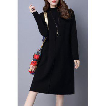 Mock Neck Long Sleeve Knit Jumper Dress