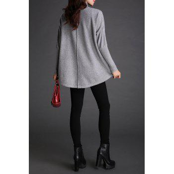 Batwing Mock Neck Pull en maille - gris ONE SIZE