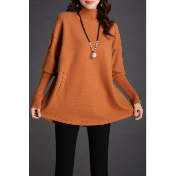 Batwing Mock Neck Knit Sweater