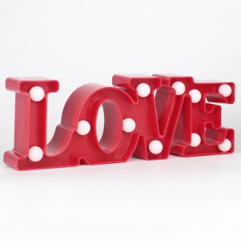 Love Letter Shape LED Night Light Table Decoration - RED