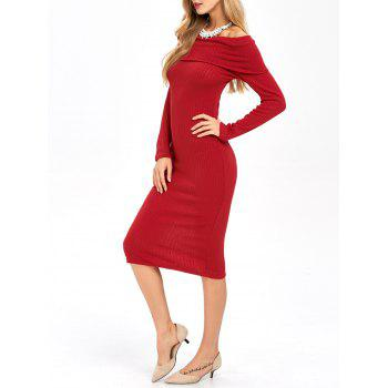 Off The Shoulder Long Sleeve Knitted Dress