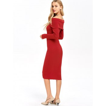 Long Sleeve Off Shoulder Midi Pencil Bodycon Dress - RED M