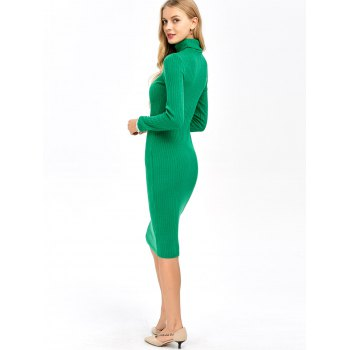 Ribbed Knit Turtleneck Sleeved Fitted Bodycon Dress - GREEN S