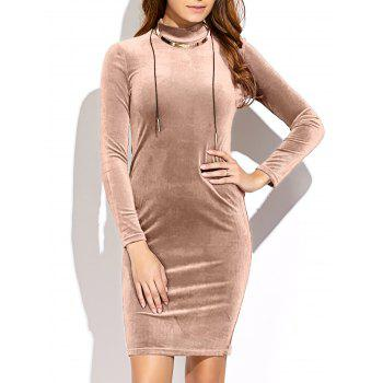 Long Sleeve High Neck Mini Velvet Dress YELLOWISH PINK