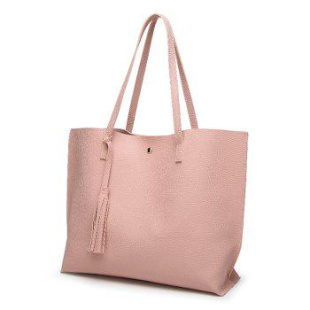 Casual Textured Tassel Shoulder Bag - PINK