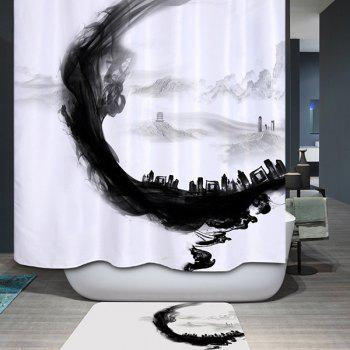 Artistic Ink Painting Waterproof Polyester Bathroom Shower Curtain