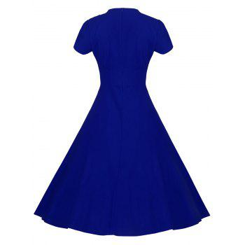 Lace Embroidered Insert 1940S Cocktail Swing Dress - ROYAL BLUE ROYAL BLUE