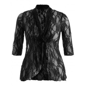 Plus Size Drawstring Asymmetric Lace Jacket - 5XL 5XL