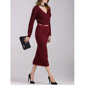 Long Sleeve Crop Top with Knitted Skirt - WINE RED WINE RED