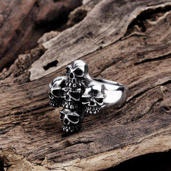 Alloy Engraved Five Skull Design Ring - SILVER SILVER