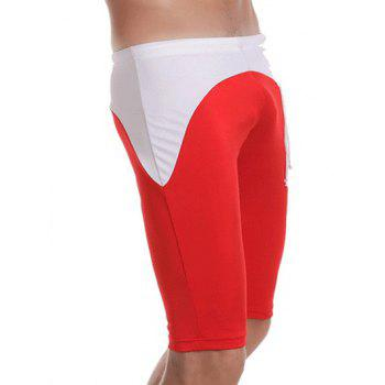 Side Drawstring Contrast Panel Swimming Trunks - RED L