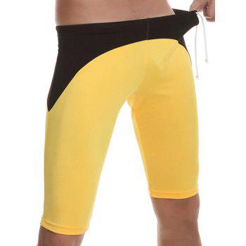 Side Drawstring Contrast Panel Swimming Trunks - YELLOW L