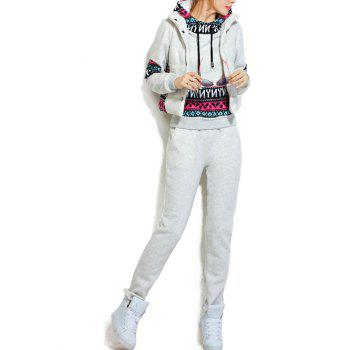 Fleece Pocket Hoodie and Vest With Track Pants Set - WHITE GREY WHITE GREY