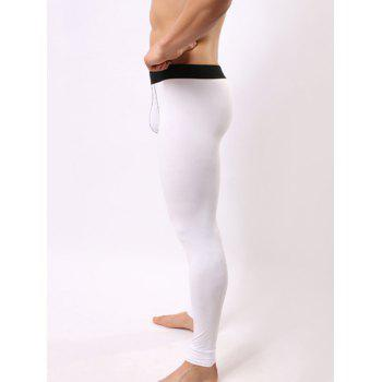 Color Block Spliced ​​U Convex Pouch Warmth Sous-vêtements Pantalons - Blanc L