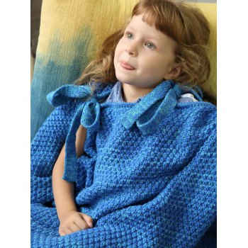Winter Knitted Sleeping Bag Bedding Mermaid Blanket - BLUE