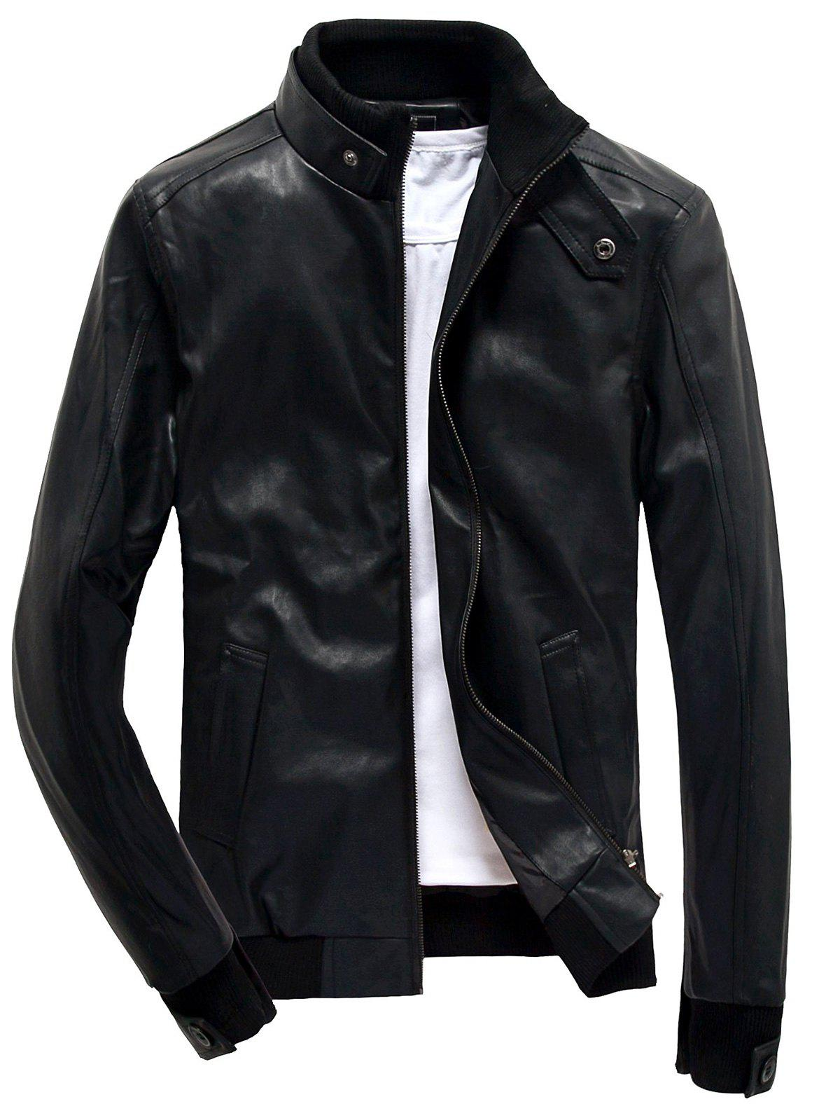 Rib Splicing Design Stand Collar Zip Up PU Leather Jacket 202313912