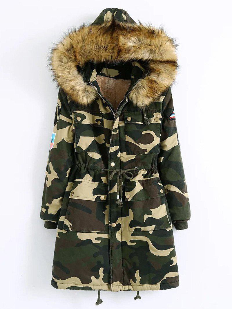 Hooded Camo Parka Coat - CAMOUFLAGE COLOR 2XL