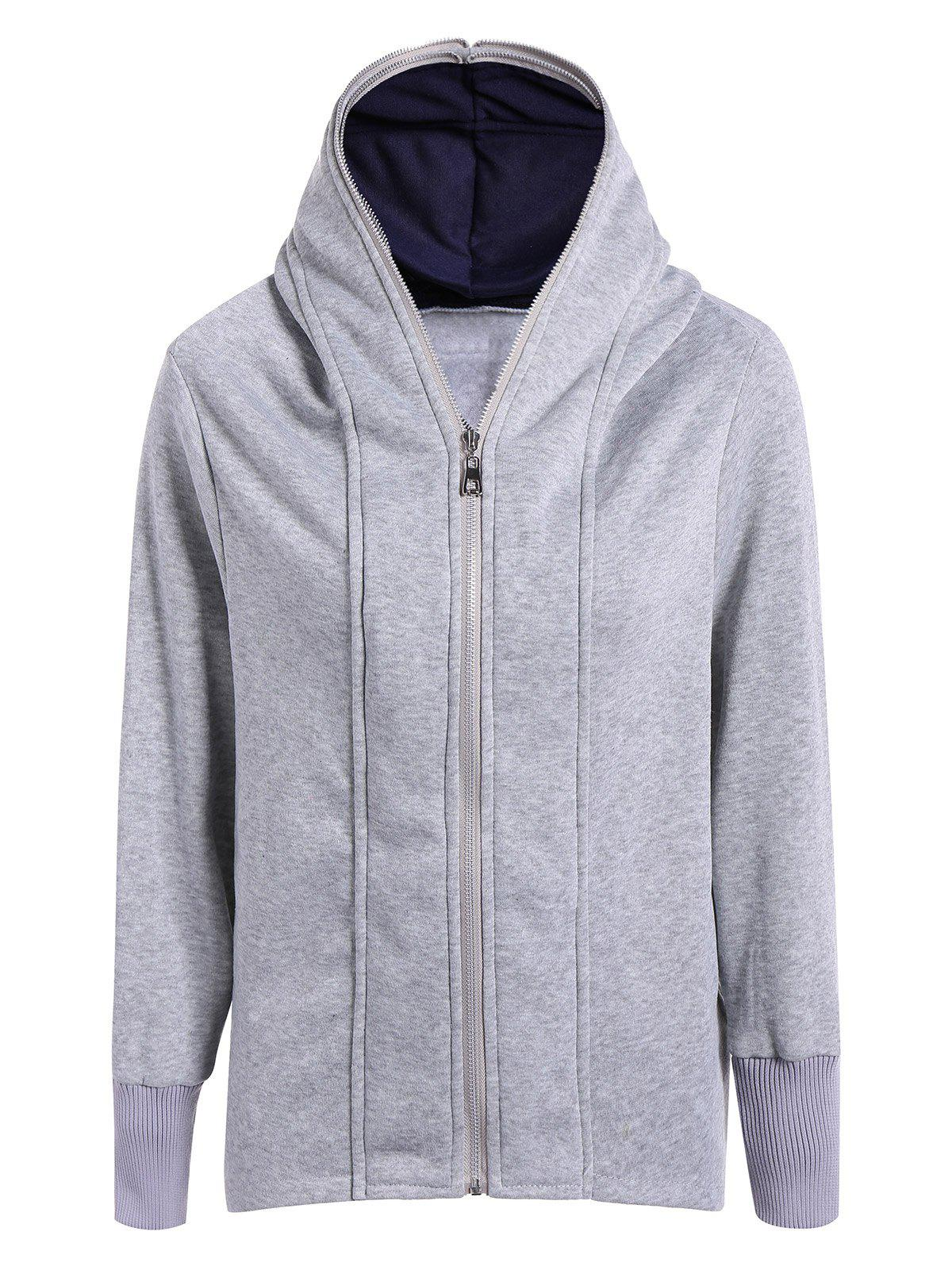 Casual Double Zippers Plus Size Hoodie - LIGHT GRAY XL