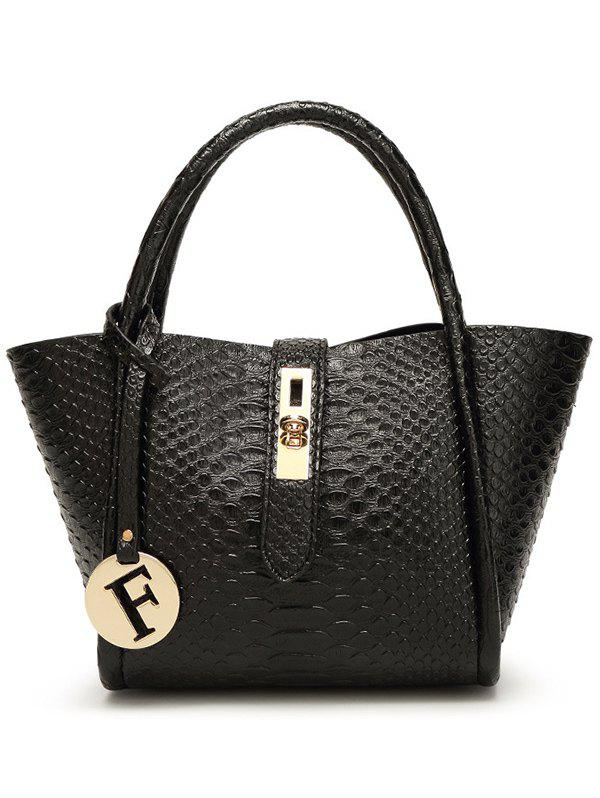 Metal Pendant Crocodile Pattern Handbag - BLACK