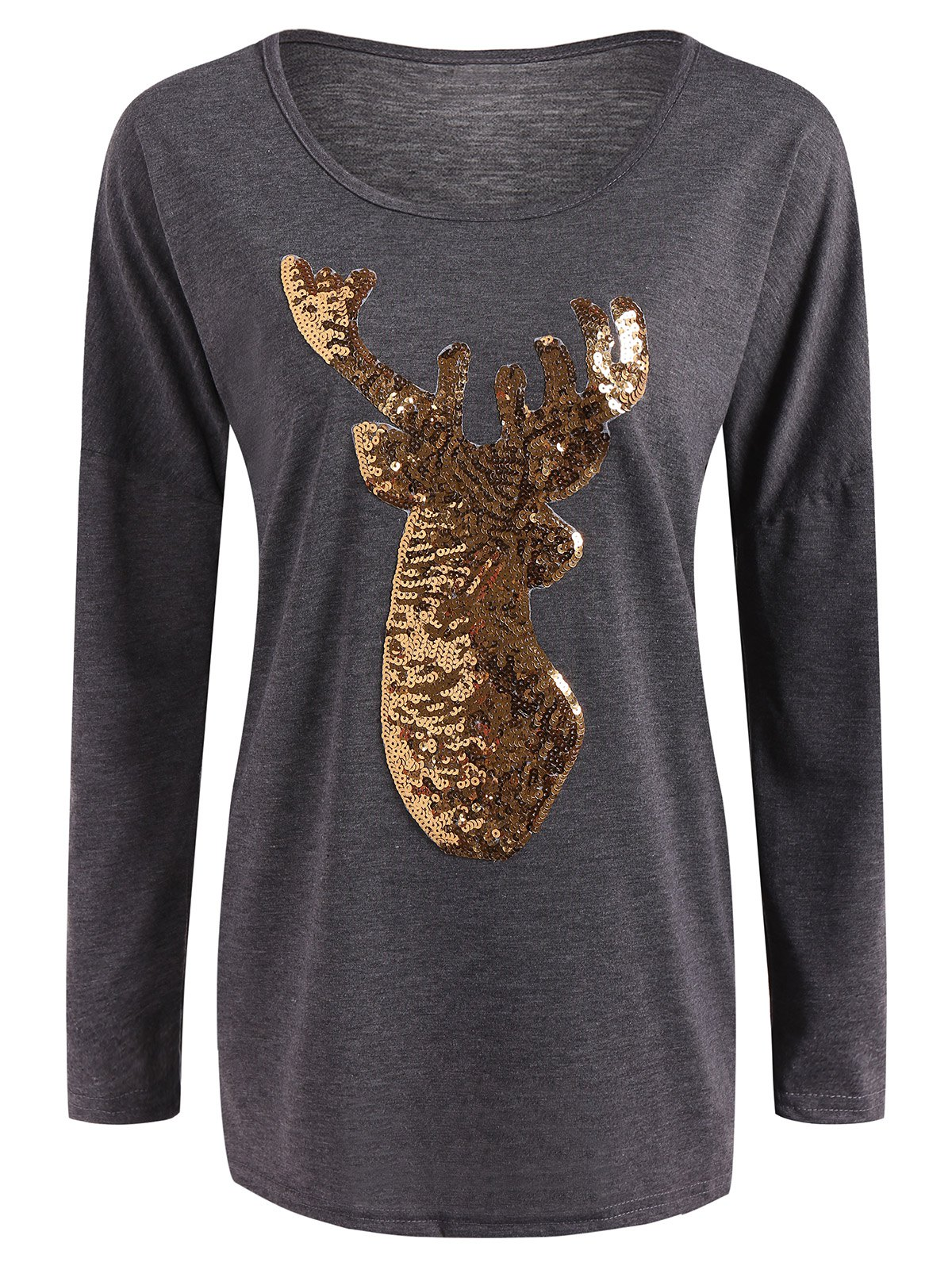 Christmas Reindeer Sequin Long Sleeve T-Shirt - GRAY L