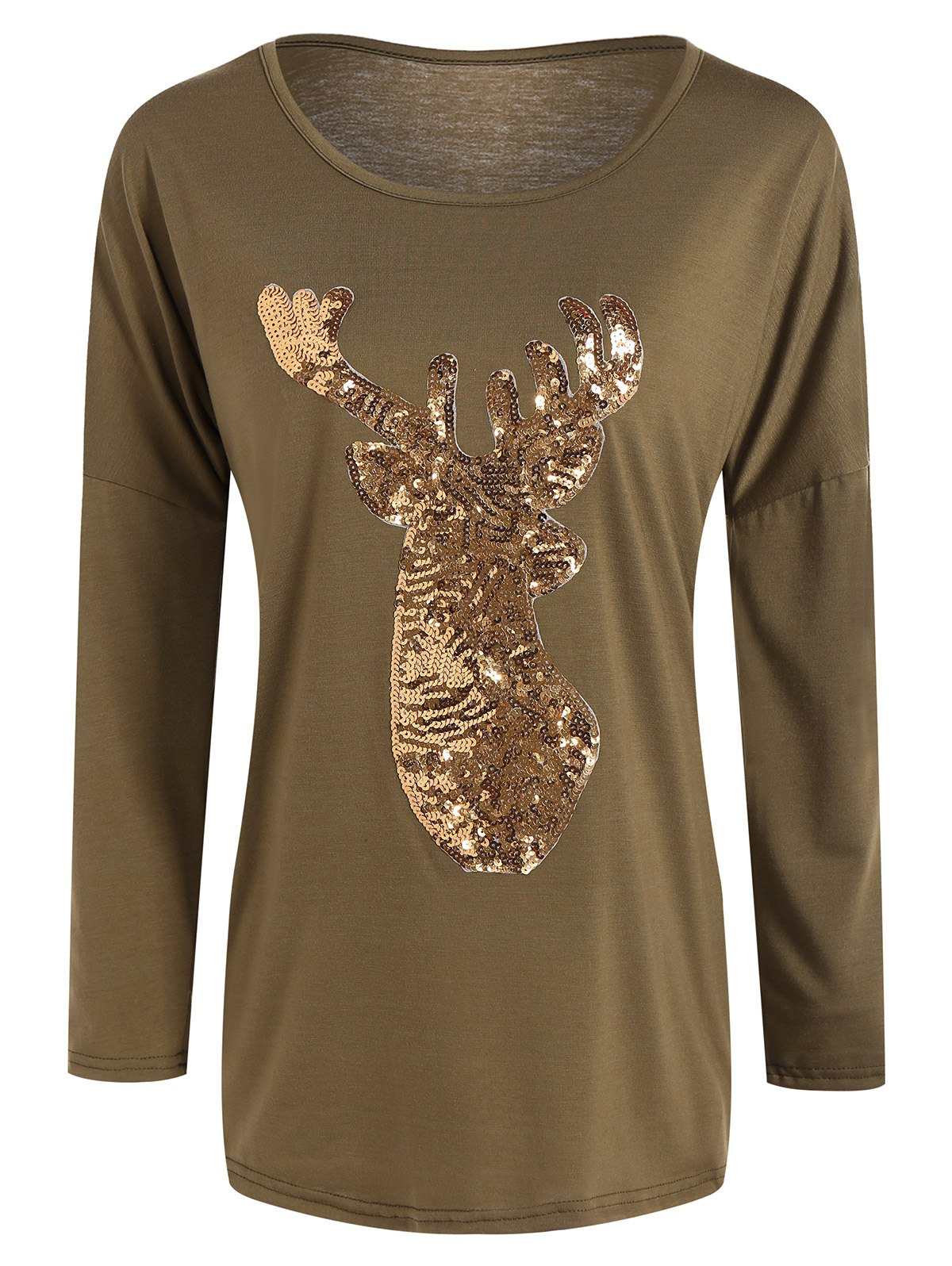 Christmas Reindeer Sequin Long Sleeve T-Shirt - DARK KHAKI S