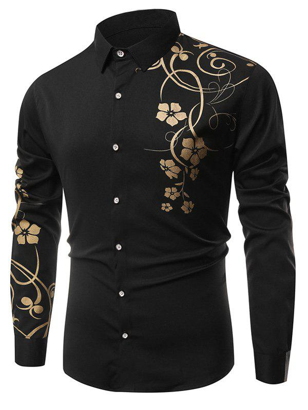 Long Sleeve Floral Printing Shirt - BLACK XL