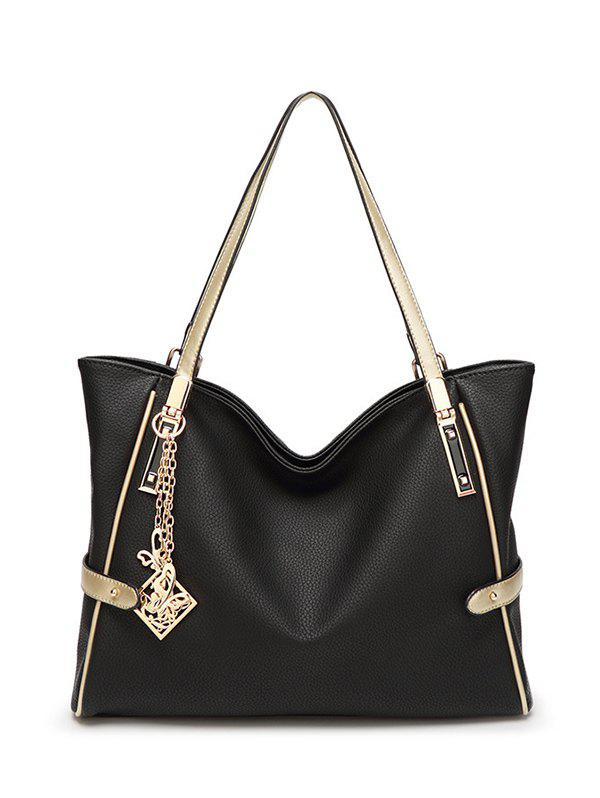 Pendant Chains PU Leather Shoulder Bag - BLACK