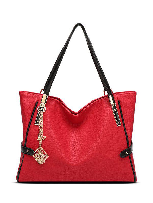 Pendant Chains PU Leather Shoulder Bag - RED
