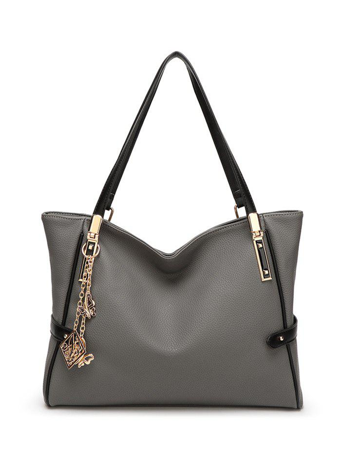 Pendant Chains PU Leather Shoulder Bag - GRAY