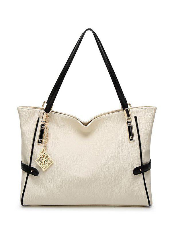 Pendant Chains PU Leather Shoulder Bag - WHITE