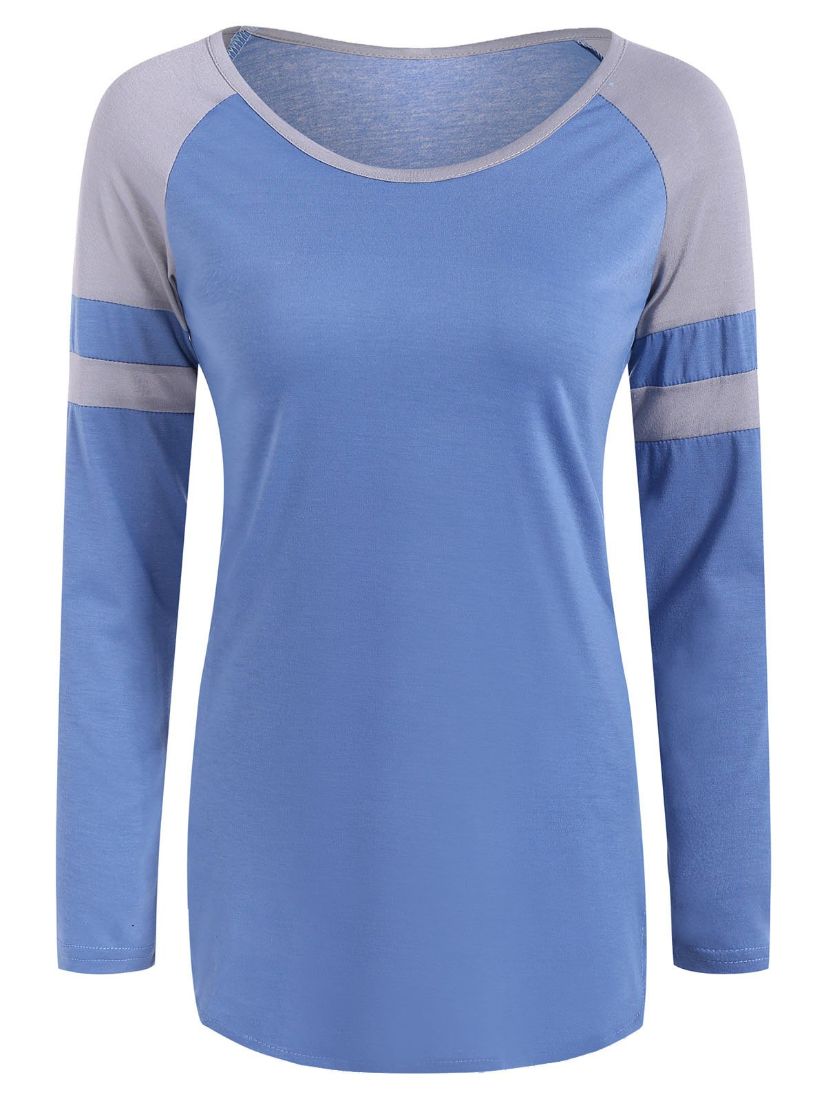 Raglan Sleeve Color Block Design T-Shirt - SKY BLUE S