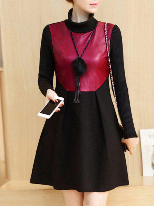 PU Panel Color Block Long Sleeve Dress - WINE RED M