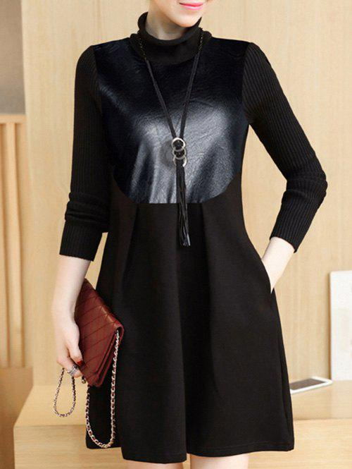 PU Panel Color Block Long Sleeve Dress - BLACK XL