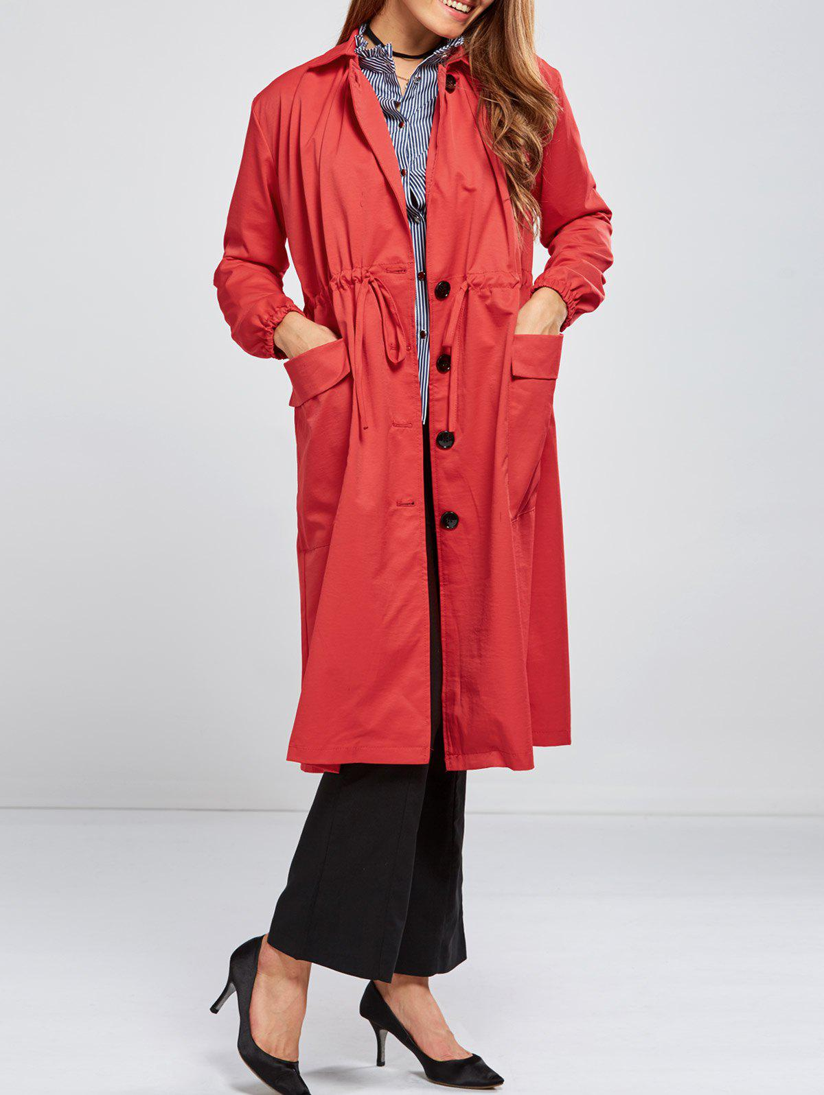 Double Pocket Drawstring Long Coat - RED XL