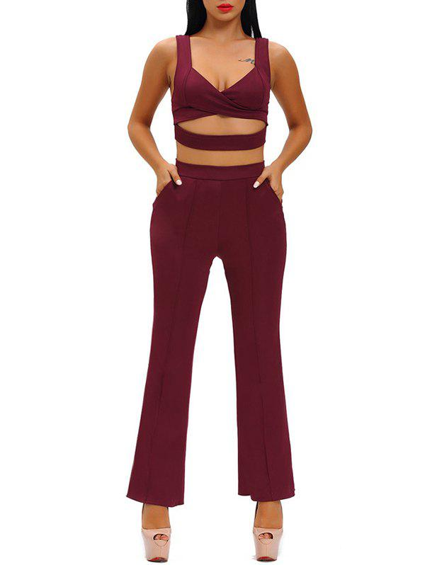 Hollow Out Crop Top With High Waist Wide Leg PantsWomen<br><br><br>Size: M<br>Color: WINE RED
