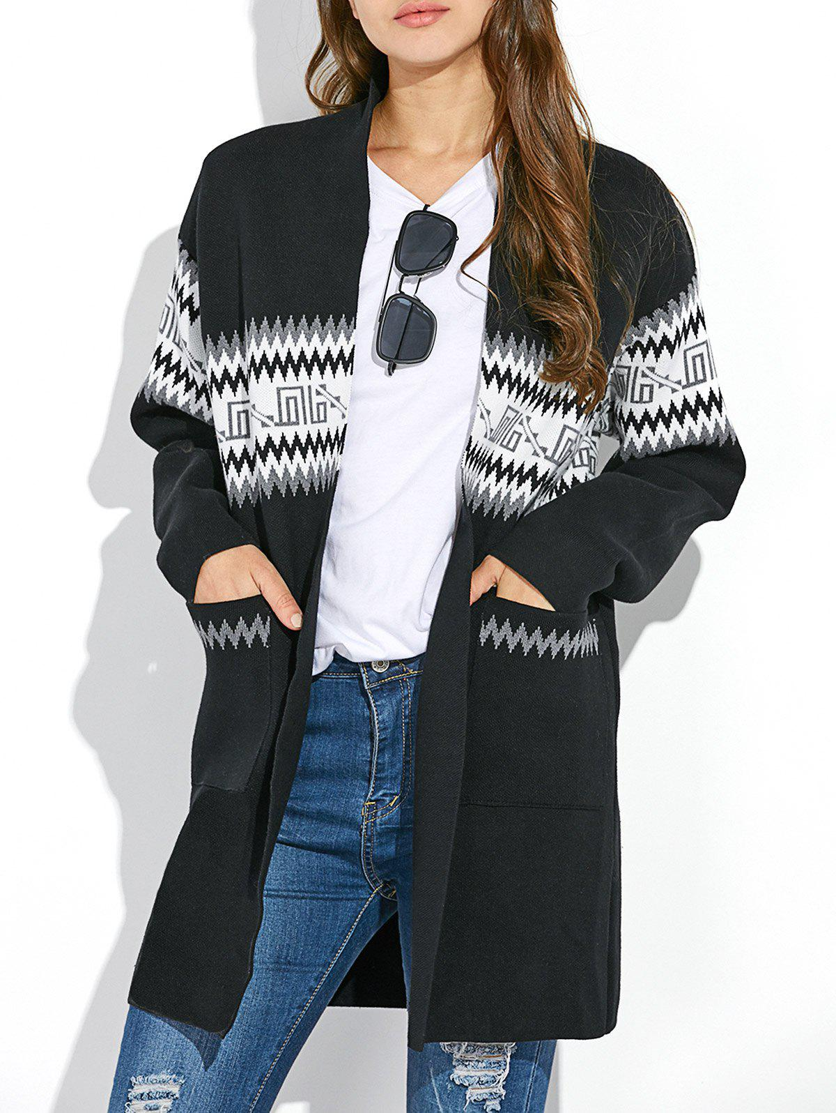 Graphic Long Sleeve Open Front Kimono Cardigan