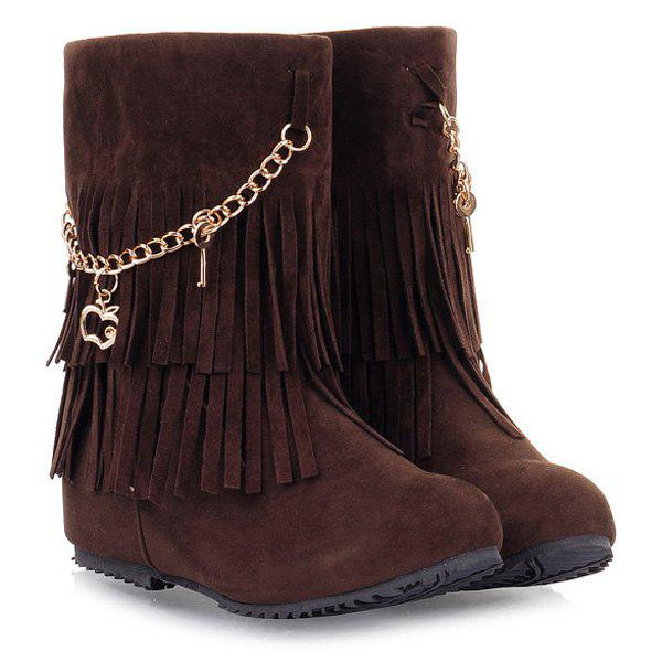 Pandent Fringe Mid-Calf BootsShoes<br><br><br>Size: 39<br>Color: BROWN