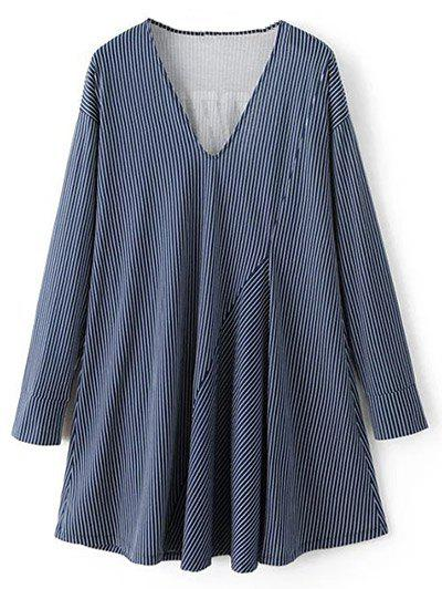 Striped Letter Long Sleeve Dress - BLUE S