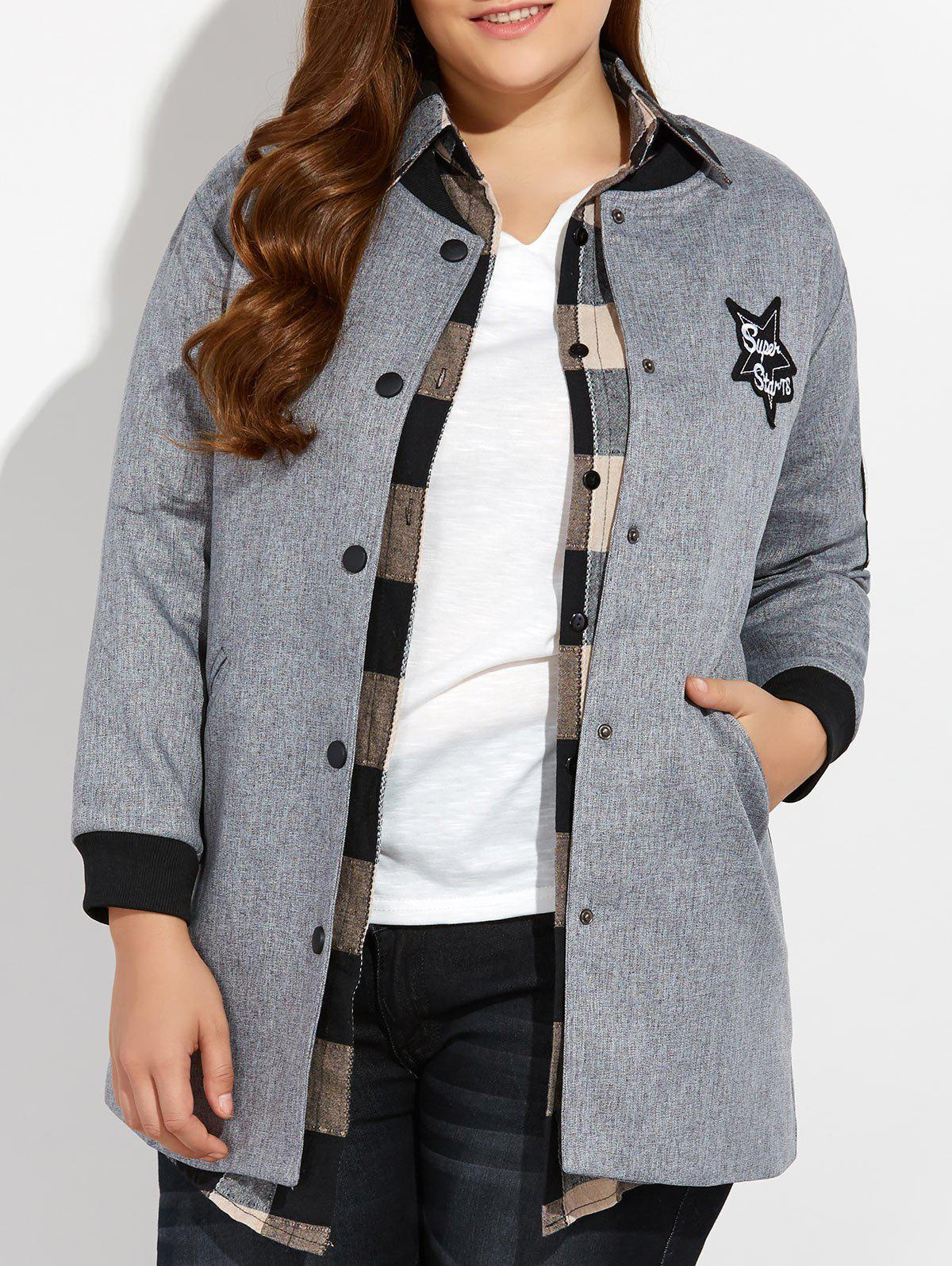 Plus Size Number Patched Bomber Jacket - GRAY 3XL
