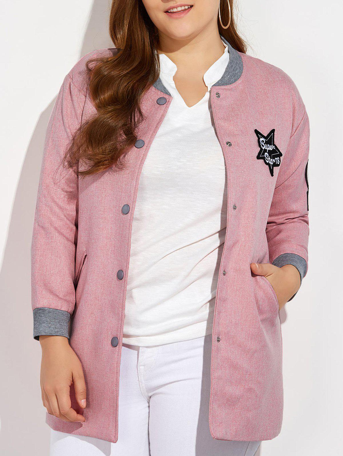 Plus Size Number Patched Bomber Jacket - PINK 3XL