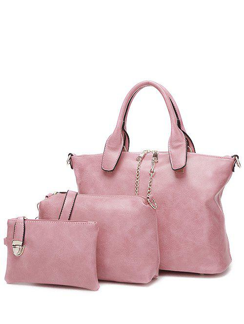 PU Leather Metallic Chains Handbag - PINK