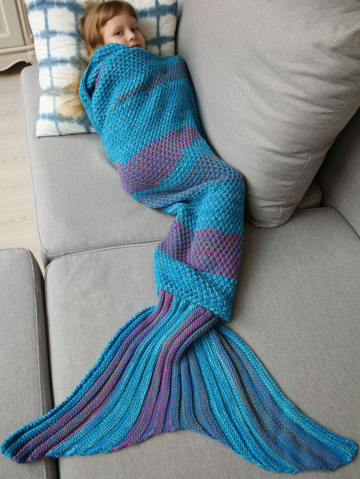 Winter Thicken Longer Color Block Design Knitted Wrap Kids Mermaid Tail Blanket - BLUE / PURPLE