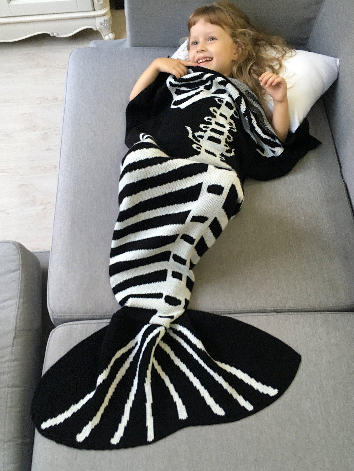 Comfortable Kintted Fishbone Halloween Mermaid Tail Blanket For Kids super soft knitted fishbone kids wrap halloween mermaid blanket and throws
